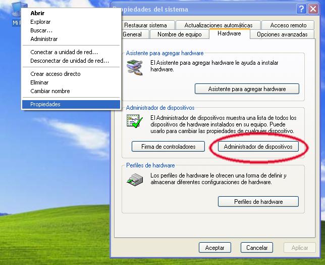 Image result for administrador de dispositivos en xp